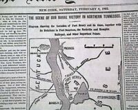 BATTLE OF FORT HENRY Tennessee River Civil War MAP Grant Victory 1862 Newspaper