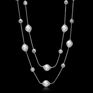 Chic Two Layer White Pearl Glass Woman Chain Wedding Necklace N-A550 Gift