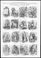 """1878 - FINE ART PRINT """"PICTORIAL CHARADES"""" Christmas Game sketches  (246)"""