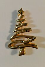 Christmas Tree Green Rhinestone Gold Tone Brooch Pin