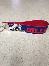 Key Ring Fob - Buffalo Bills on Red - Wristlet Style - Nickel Hardware - NFL