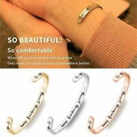 Fashion Stainless Steel Cuff Bracelet Keep Going Engraved Women Bangle Gifts