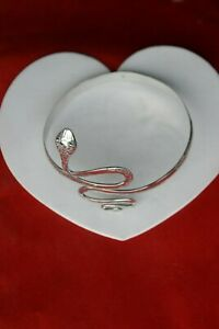 BEAUTIFUL 925 SILVER TRADITIONAL HARM BRACELET WITH SNAKE 37 GRAMS 9 CM. WIDE