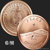 1 oz Peace on Earth .999 Copper Silver Shield Jesus Christmas Star Freedom ***