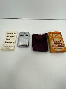 Vintage Jon-E Pocket Hand Warmer & Original Box Bag Manual Cigarette Lighter NR