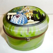 Antique opaline glass box  in marbieized pattern with art deco design on top