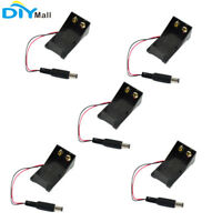 5Pcs 9V Battery Clip Holder Box Case Wire Lead Plug 5.5*2.1mm for Arduino