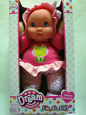 "DREAM COLLECTION,I/'M SO SOFT,12/"" BABY GIRL DOLL,W// PINK OUTFIT,BONNET,/& BOW,NEW"