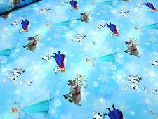 Stoff Baumwoll Jersey Eiskönigin Frozen Anna Elsa Olaf blau türkis Kinderstoff