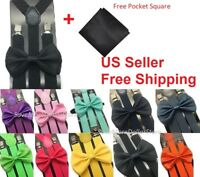 Men Bow Tie Bowtie Suspender Pocket Square Hanky Set Classic Wedding Pre-tied