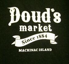 DOUD'S MARKET Mackinac Island small beat-up T shirt Michigan grocery Cow Humor
