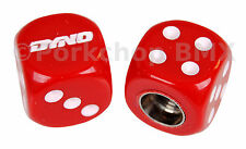 Dyno solid logo old school BMX bicycle tire Schrader valve DICE caps PAIR RED