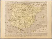 1859. Spagna, More Come, Portogallo Di 1492 Per 1640. Carta Antica Di Houze