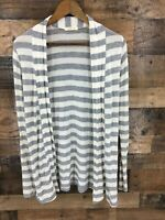 Always...Me Women's Grey & White Stripe Elbow Patches Open Front Long Cardigan M