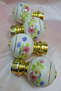 Lot of 4 Vintage Floral Porcelain Bed Post Finials Shabby Chic Bedroom Decor