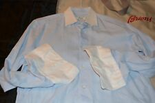 $575 Brioni Cotton Blue Dress White Collar Shirt 15 34 ITALY Neiman Marcus