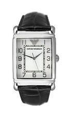 NEW EMPORIO ARMANI Watch AR0433 White Dial & Black Leather Strap RARE 34MM