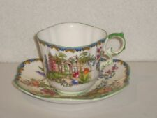 Aynsley Tea Cup and Saucer B1356 Castle Arch Flowers as-is
