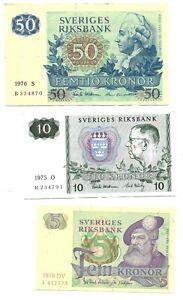 5kr 1978 / 10 / 50kr 1976 Kronor  Sweden 🇸🇪Sveriges Lot of 3 Banknotes