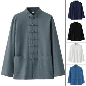 Men Traditional Chinese Tang Suit Coat Jacket Martial Arts Kungfu Taichi Uniform