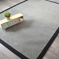 Tapis en velours gris foncé - Ganse coton noire - Salon chambre séjour bureau