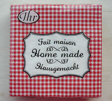 Ihr - 1 Paket Servietten ♥ Home Made ♥ rot kariert  25 x 25cm Ideal Home Range