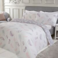 Feather Print Bedding - Reversible Duvet Cover and Pillowcase Set