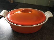 Vintage Cousances Oval Casserole Dish/Pot/Pan Orange Cast Iron 22