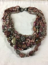 NEW Alexis Bittar Multi Strand Pink Tourmaline Beaded Pave Crystal Necklace $795