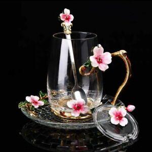 New Beauty Novelty Enamel Coffee Cup Mug Spoon Hot Cold Drink Flower Tea Glass