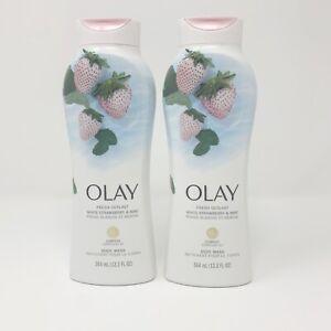 2 x Olay Fresh Outlast Body Wash White Strawberry & Mint, 12.3 Fl OZ Each