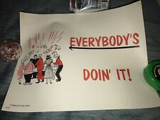 """Vintage Harolds Club Reno Casino """" Everybody'S Doin' It! """" Poster Sign"""