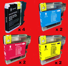 WB0980 10 CARTUCCE COMPATIBILI x BROTHER LC-1100BK LC-1100C LC-1100M LC-1100Y