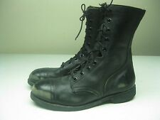 VINTAGE BLACK DISTRESSED USA STEEL TOE MOTORCYCLE WORK PACKER COMBAT BOOT 10.5 D