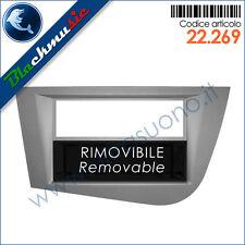 Mascherina autoradio 2ISO-2DIN Seat Leon (1P rest. 2009-2012) Grigio + cassetto
