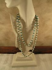 Sally C Treasures Turquoise & Pearl, 50' Strand Necklace  Sterling Silver Clasp
