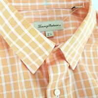 Tommy Bahama Mens 16 1/2 36-37 Long Sleeve Shirt Button Front Orange Plaid Check