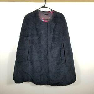 Trina Turk Womens Black  Wool Alpaca  Round Neck Cape Coat One Size