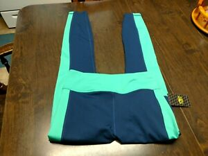 NWT Athletic Works Navy Blue Green Brushed Leggings Size Women's Small
