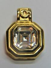Signed AVON Goldtone Clear Rhinestones Square Shape Pendant #3585
