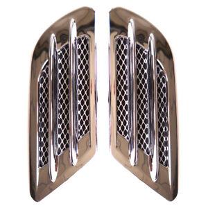 Car Bonnet Air Flow Intake Side Fender Vent Moulding Trim Decals Stick On Sliver
