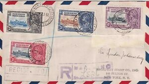 BECHUANALAND GEORGE V 1935 SILVER JUBILEE SET ON REGISTERED AIRMAIL COVER TO USA