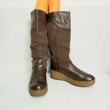 Bronx Womens Brown Knit Leather Clog Boots Pull On Euro 40 US 8