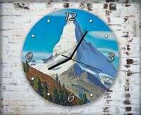 High Snowy Mountain Top Wall Clock Home Office Bedroom Living Room Kitchen Decor