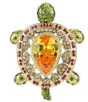 Luxury Vintage Style Turtle Animal Pendant Brooch Pin Topaz Crystal Tortoise