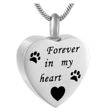 """Dog cat  heart memorial cremation urn necklace pendant """"Forever in my heart"""""""