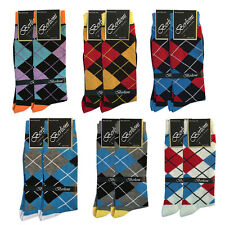 Pack of 12 Pairs - Berlioni Fashion Fancy Mens Argyle Dress Socks - Checkers NEW