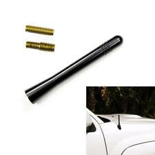 Black/Sivler Car Auto Short Stubby Antenna Aerial AM/FM Radio Mast + Screw Alloy