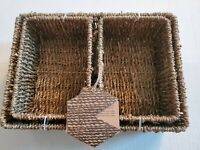 Hand-Woven Seagrass Storage Baskets, Wicker Shelf Tote Basket, Set Of 3