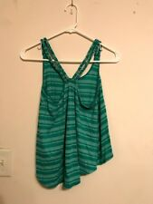 Poof two tone green belly tank top, Juniors size M